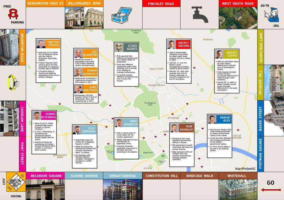 Mapa del 'tour' de la Cleptocracia.