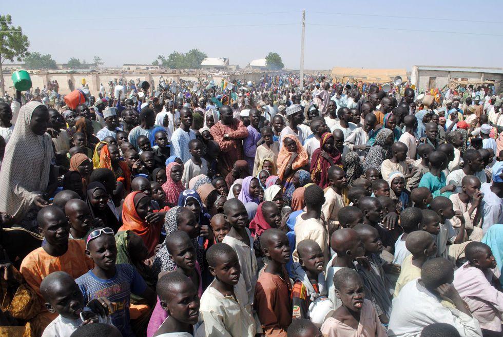 Desplazados internos, el 2 de febrero en el campo de Dikwa (Nigeria).