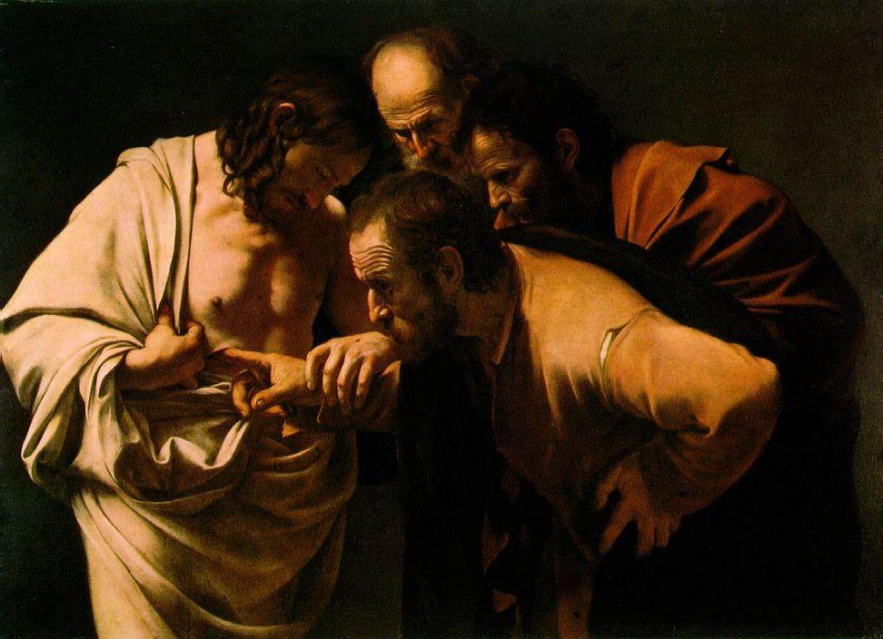 'La incredulidad de Santo Tomás', obra de Caravaggio (1602).