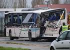 El autobús siniestrado este jueves en Francia.