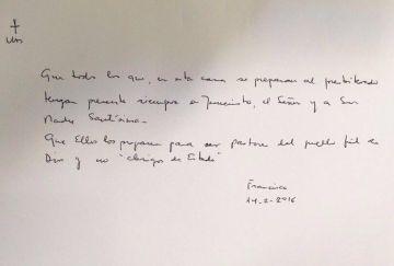 Un mensaje del Papa a los seminaristas: