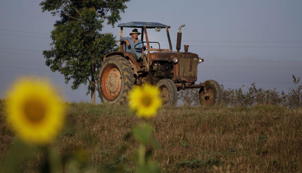 Fotografía de archivo de un tractor en Pinar del Rio (Cuba).
