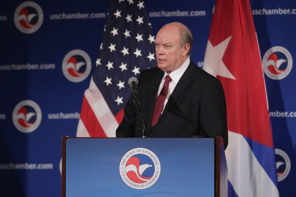 El ministro cubano Rodrigo Malmierca en la Cámara de Comercio de EE UU