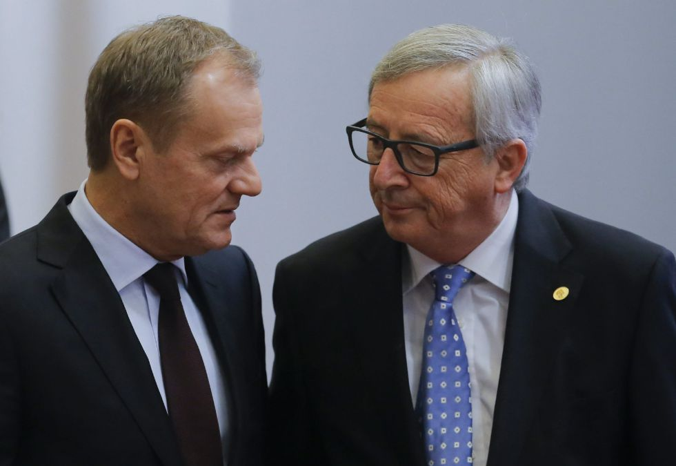 Tusk, del Consejo Europeo, y Juncker, de la Comisión, este miércoles.