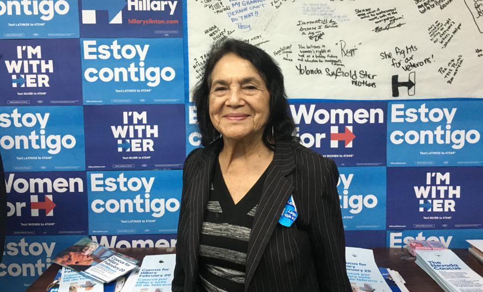 Dolores Huerta, en el cuartel de campaña de Clinton en Las Vegas.
