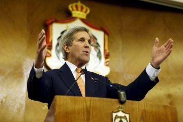 El secretario de Estado de EE UU, John Kerry, en su rueda de prensa este domingo en Amán.