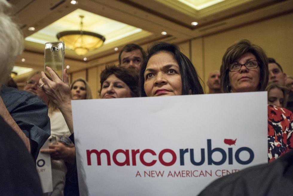Partidarios de Marco Rubio durante su mitin en Las Vegas.