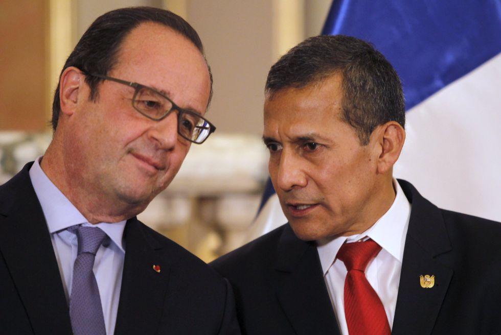 El presidente francés François Hollande con el peruano Ollanta Humala.