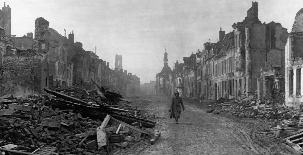 Calles de Peronne, escenario de la batalla de Somme, en 1916.
