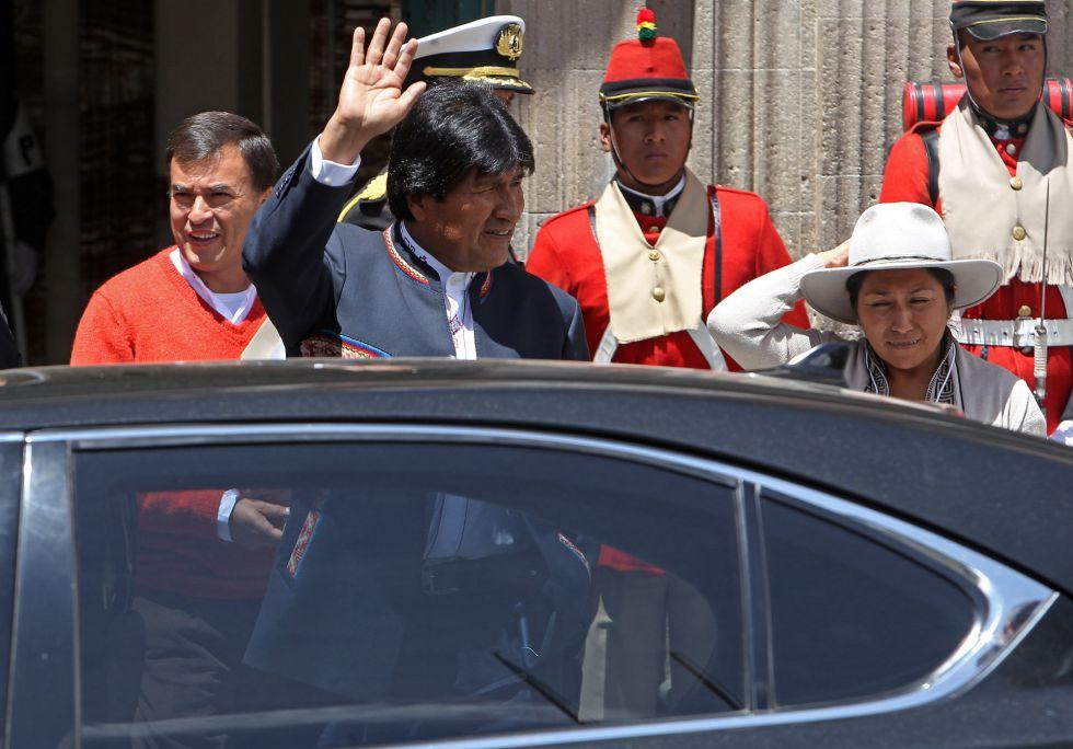 El presidente de Bolivia, Evo Morales, al salir de una conferencia en La Paz.