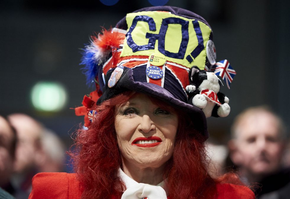 Una partidaria del Brexit, en un acto de campaña en Londres, el 19 de febrero.