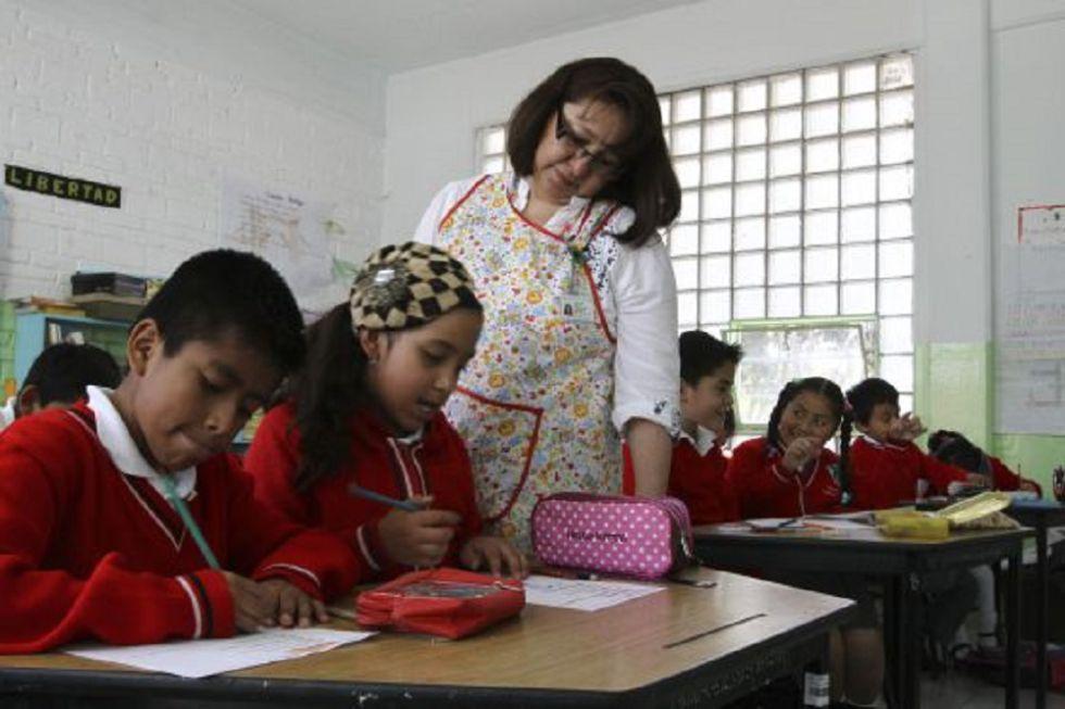Estudiantes en una escuela de la Ciudad de México.