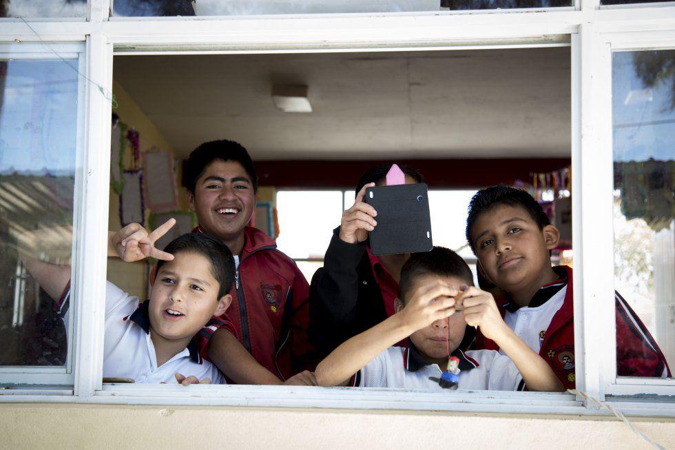 Niños en una escuela de Oaxaca.