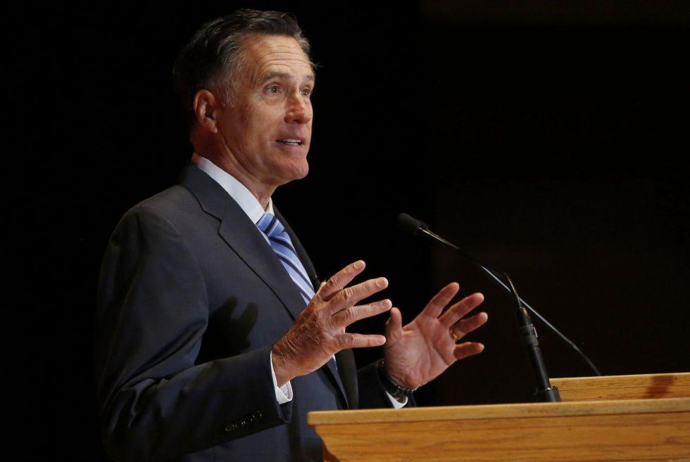 El político republicano Mitt Romney durante su discurso este jueves.