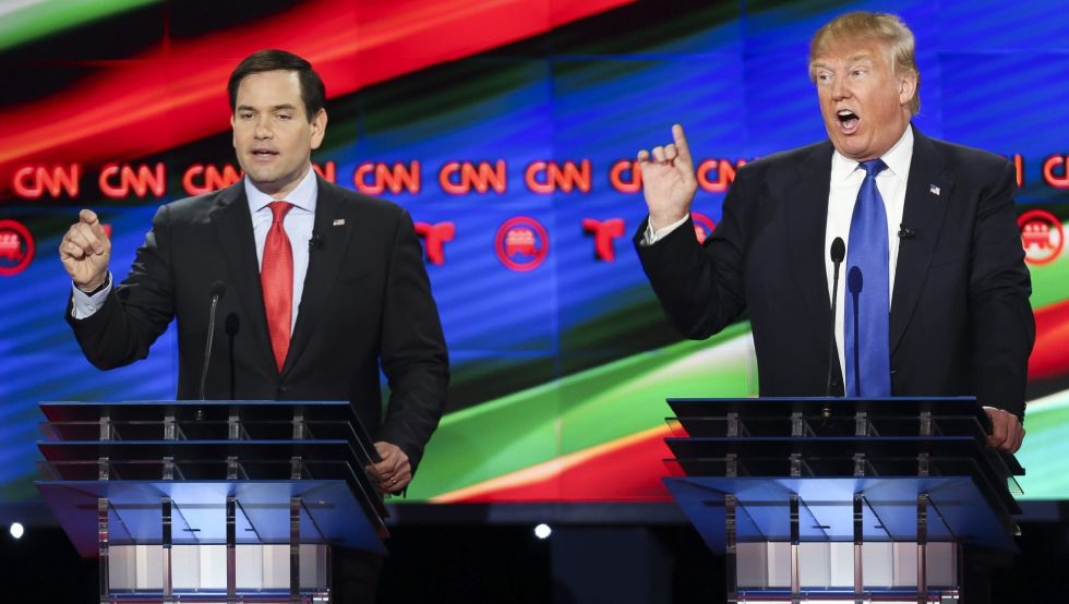 Trump y su contrincante republicano Marco Rubio.