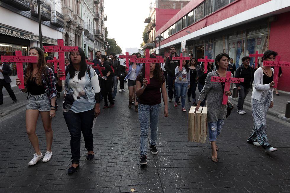 La protesta contra los feminicidios en Puebla, del pasado 25 de febrero.
