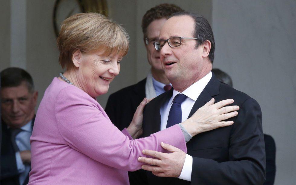 Merkel y Hollande, durante su encuentro este viernes.