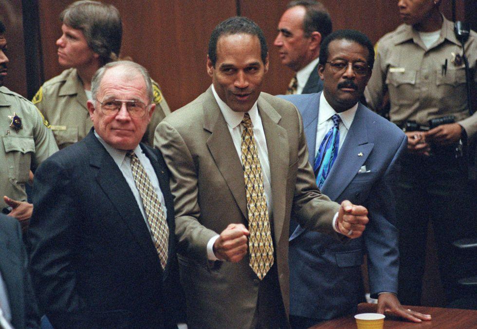 O.J. Simpson, en el momento de ser absuelto, el 3 de octubre de 1995.
