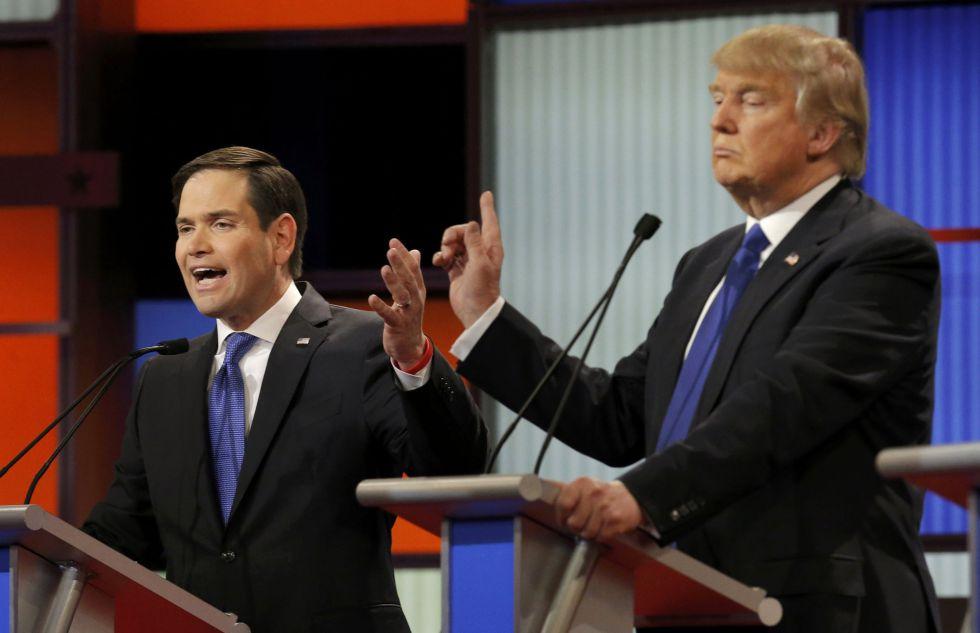 Rubio (Izda.) y Trump protagonizaron algunos de los intercambios más tensos de la noche.