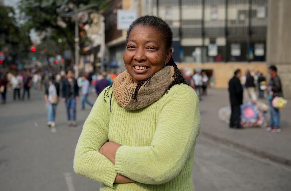 Lina Caro en el centro de Bogotá.