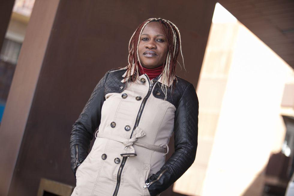 Micheline A., refugiada de Congo en Alcobendas, el día 8 de marzo.