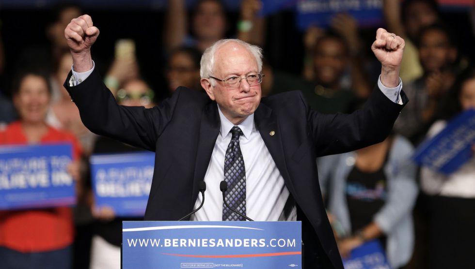 El demócrata Sanders, la noche del martes en Miami