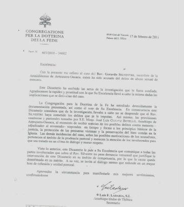 Esta es la carta de respuesta que envió el Vaticano.