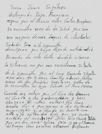 Esta es la carta que Narcisa Mendoza escribió al papa Francisco.