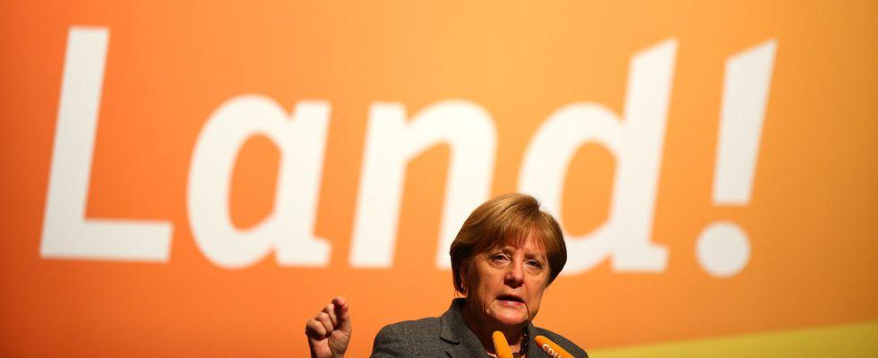 Angela Merkel hoy en un acto de campaña.