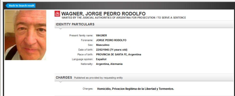 Ficha de Interpol de Jorge Pedro Rodolfo Wagner.