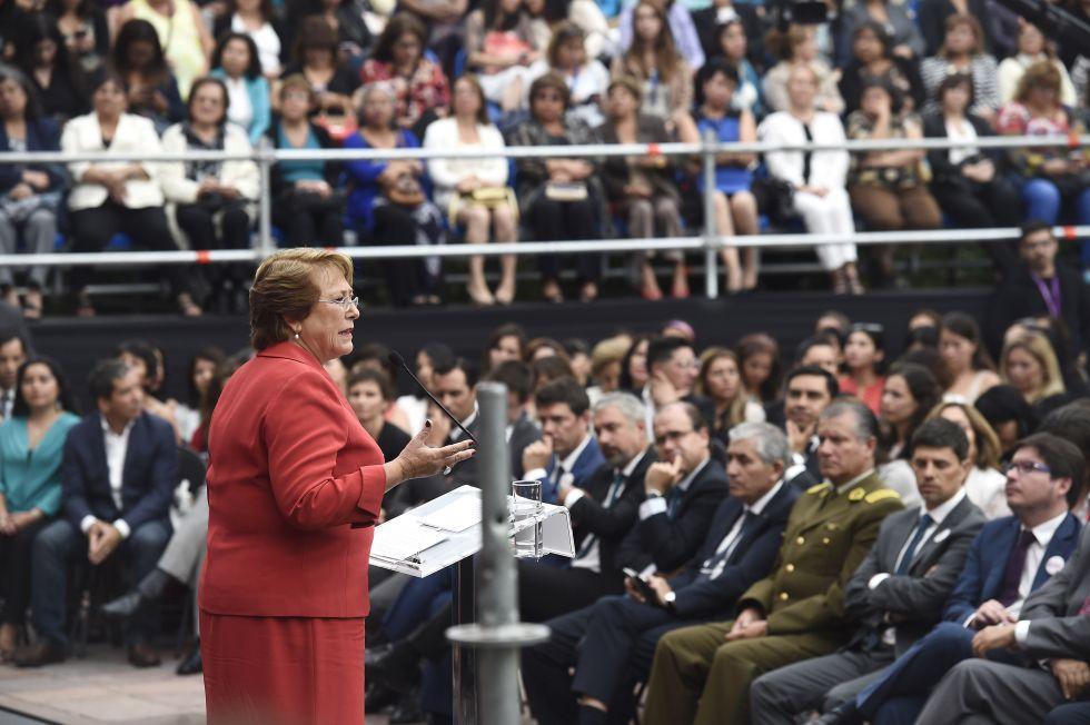 La presidenta de Chile, Michelle Bachelet, el martes, en el Palacio de la Moneda.