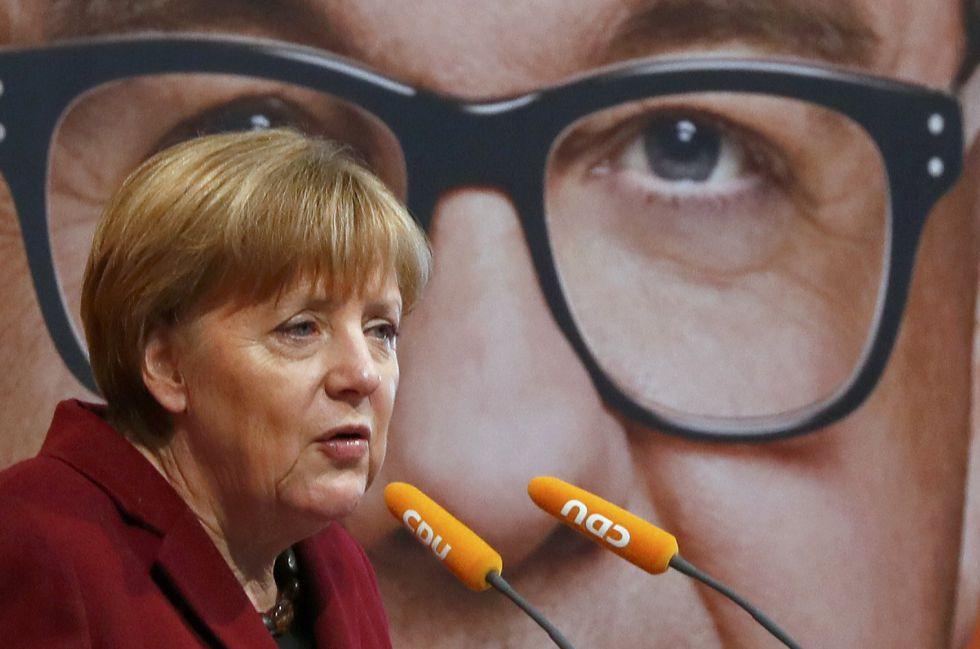 La canciller alemana y líder de la CDU, Angela Merkel, participa el sábado 12 de marzo en el último acto de campaña del partido, en Haigerloch (Baden-Wurtemberg)