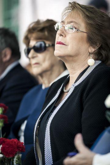 La presidenta chilena Michelle Bachelet, durante el homenaje a su padre.