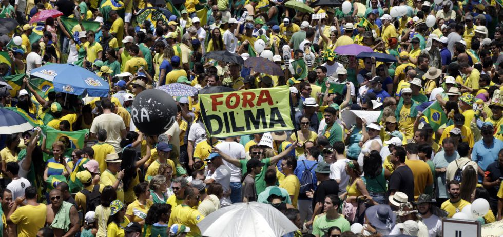 Protestas contra Dilma Rousseff en Brasilia, el domingo 13 de marzo.