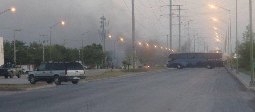 Imagen de uno de los bloqueos en Reynosa.