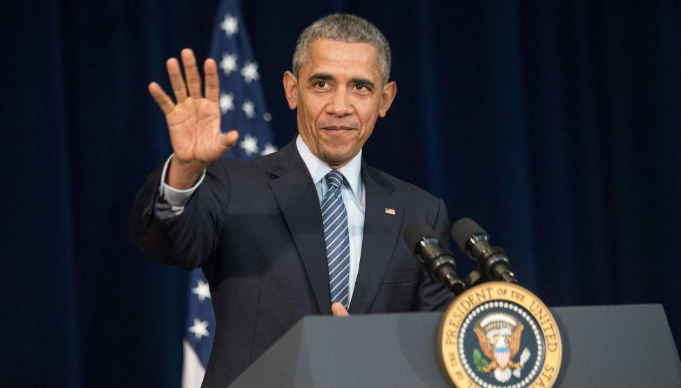 Obama, este lunes, en un acto con diplomáticos en el Departamento de Estado