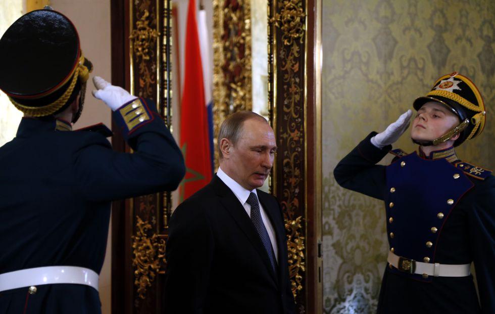 Vladímir Putin, este martes en Moscú, antes de reunirse con el rey marroquí, Mohamed VI.