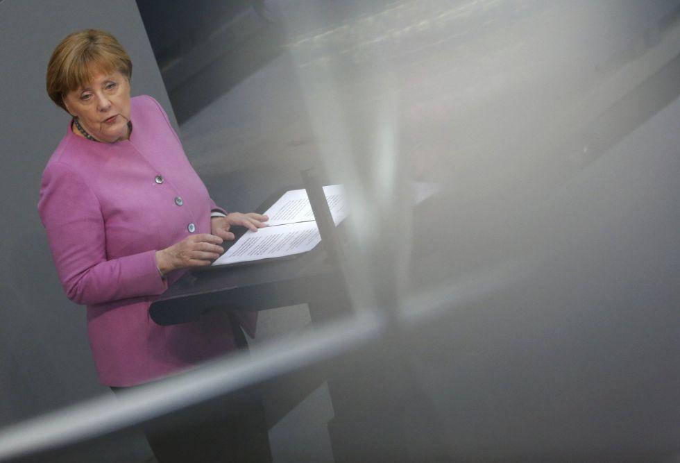 La canciller alemana, Angela Merkel, durante su discurso en el Bundestag, en Berlín.