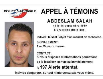 La ficha en la que la policía de Francia pide información sobre Abdeslam.