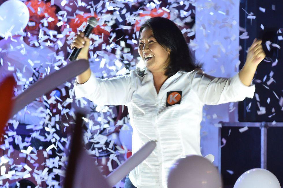 La candidata Keiko Fujimori, en un mítin en Lima este viernes.