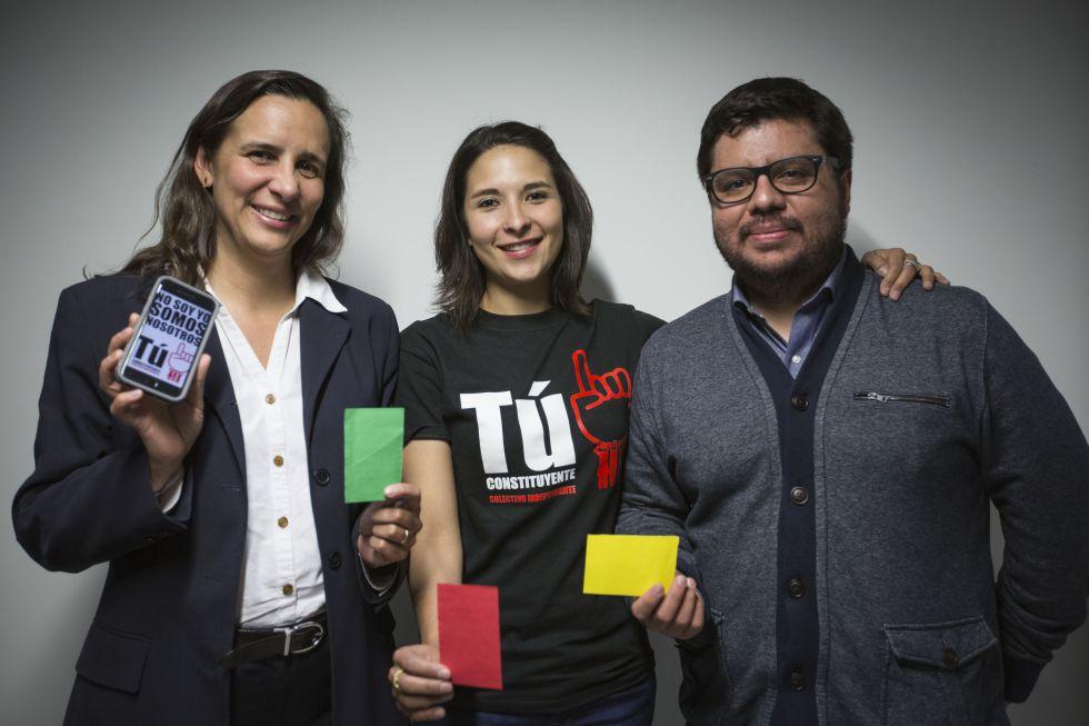 Los candidatos independientes Mónica Tapia, Paulina Arriaga y Alfredo Lecona.