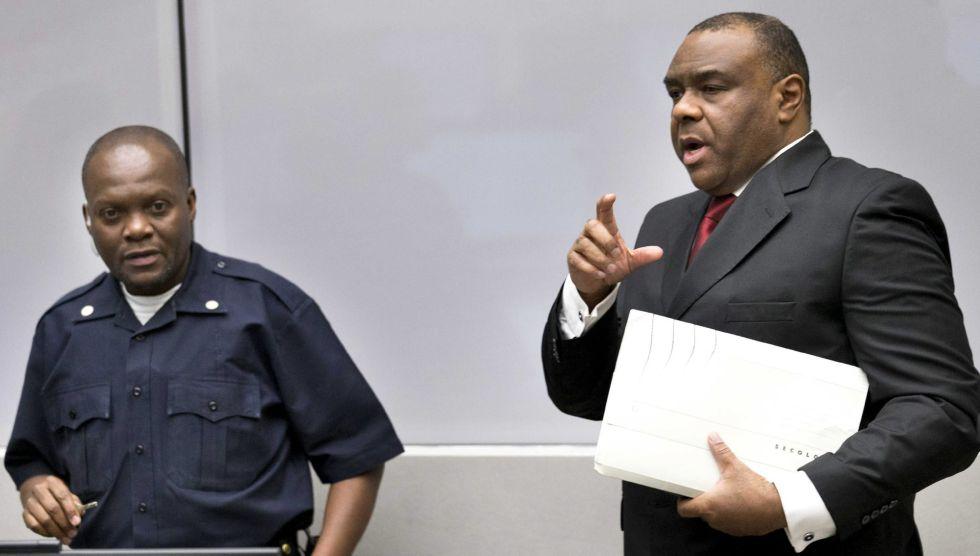 El exvicepresidente congoleño Jean-Pierre Bemba, este lunes en la Corte Penal Internacional de La Haya, Holanda.