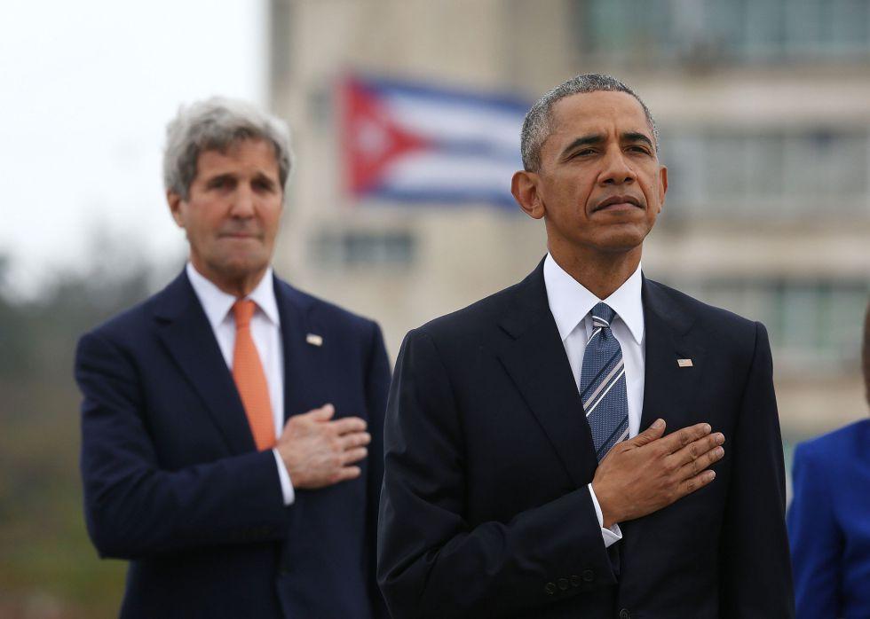 Kerry, junto a Obama en la Plaza de la Revolución.