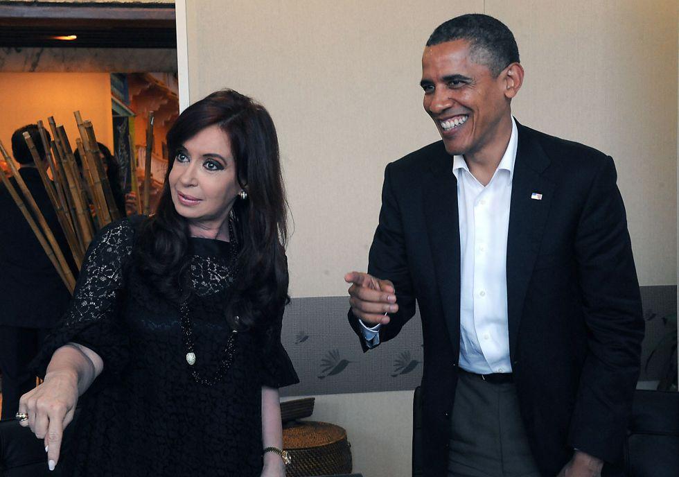Obama y la ex presidenta Cristina Fernández.