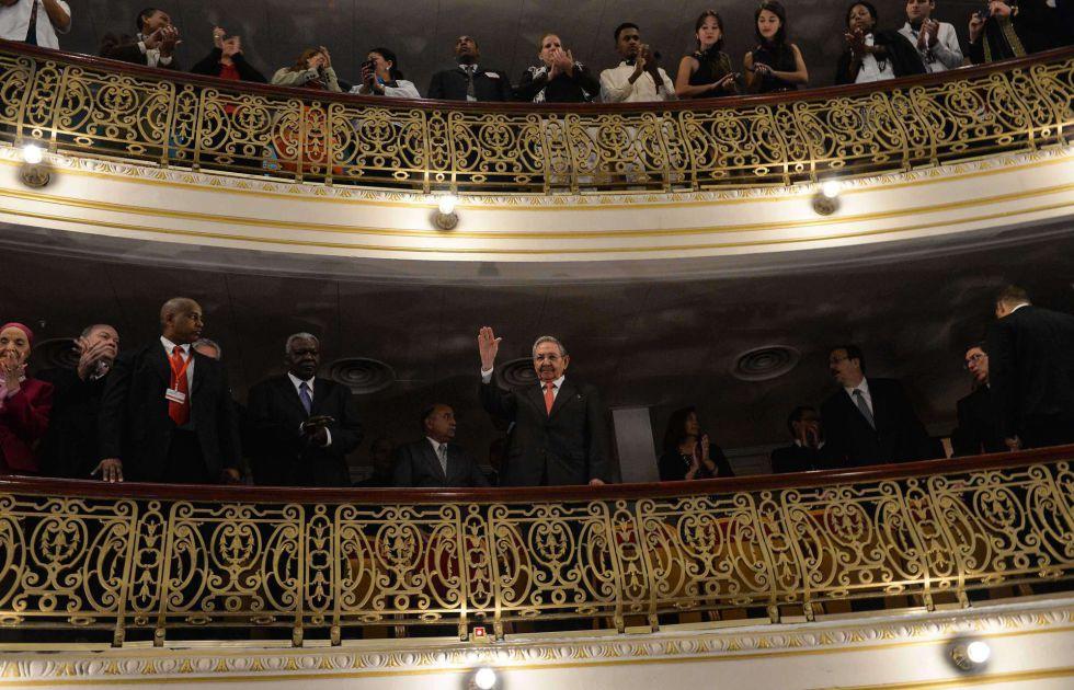 El presidente Raúl Castro presenció el discurso desde uno de los palcos.