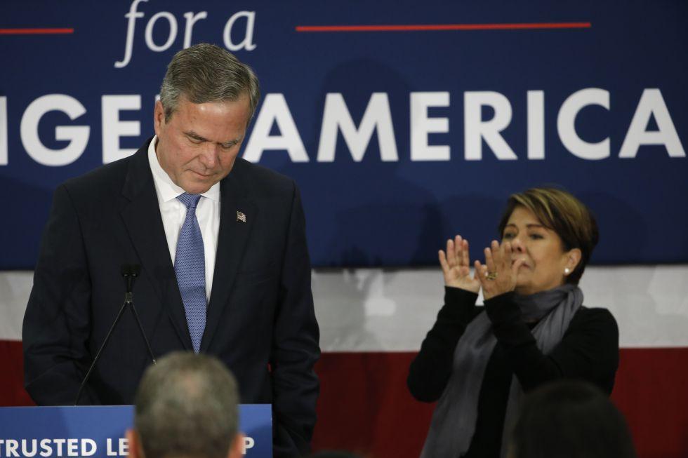 Jeb Bush, tras anunciar su retirada de la carrera republicana hacia la Casa Blanca, el pasado febrero.
