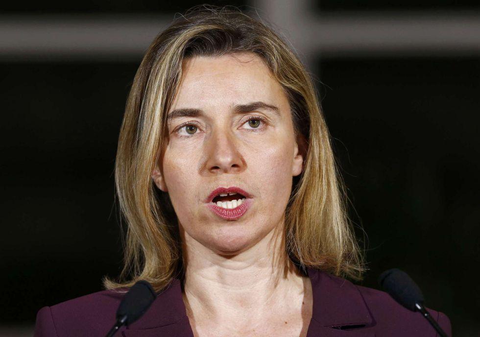La alta representante para la Política Exterior Europea, Federica Mogherini, este miércoles en Génova.