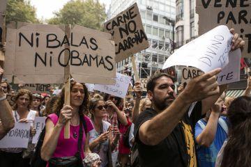 Las proclamas contra el presidente de EE UU se repitieron a lo largo de la marcha.