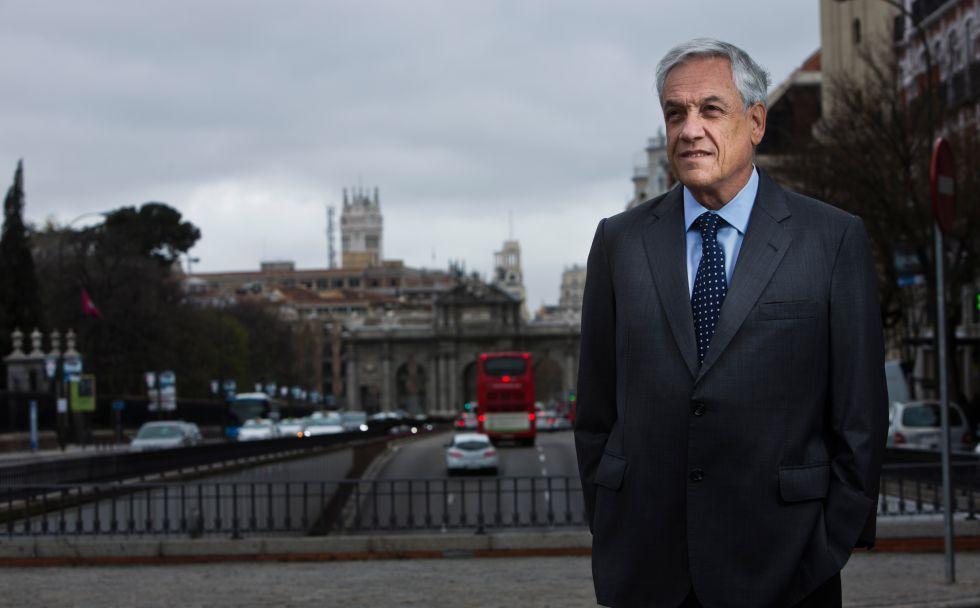 Sebastián Piñera, ayer en Madrid.