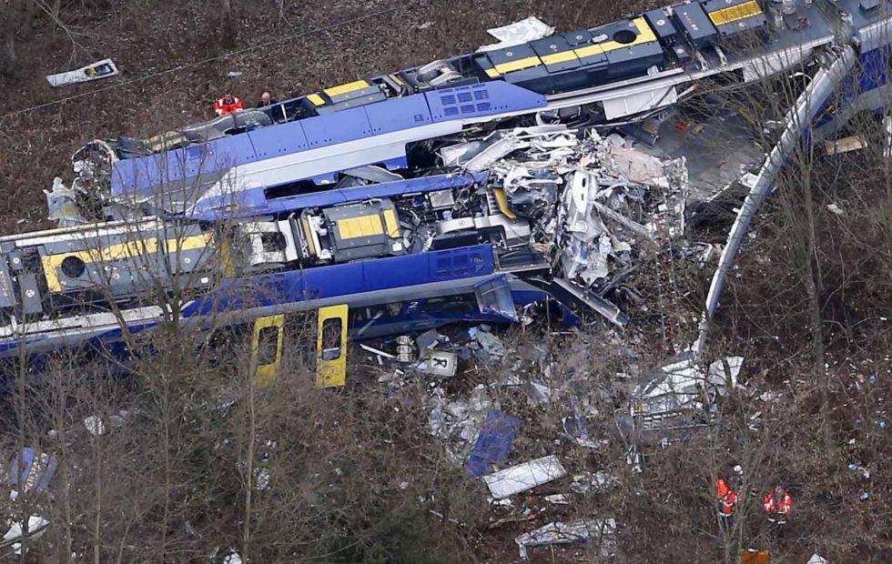 Los dos trenes siniestrados el pasado 9 de febrero cerca de Bad Aibling, en el Estado alemán de Baviera.